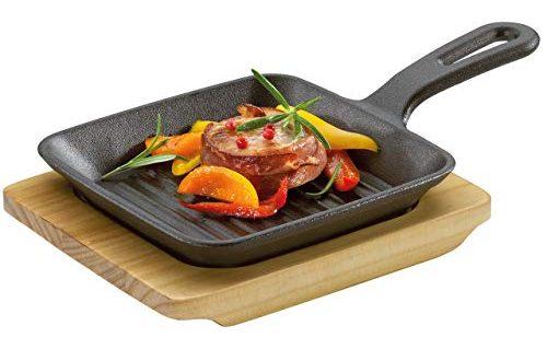 Küchenprofi BBQ Servierpfanne, Grillpfanne, Gusseisen, inklusive Servierbrett aus Pinienholz